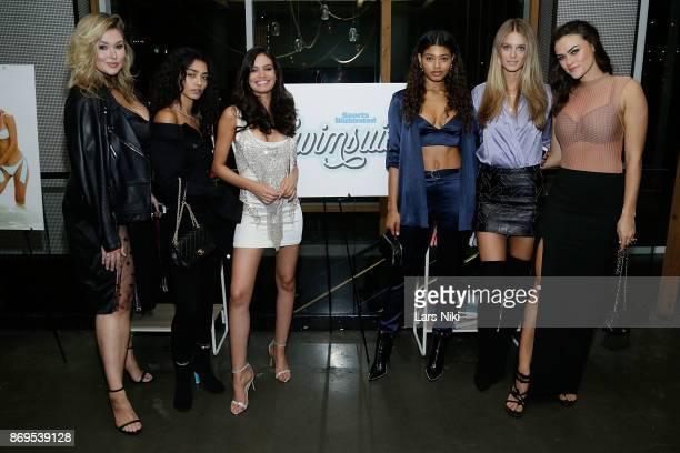 Models Hunter McGrady Raven Lyn Anne de Paula Danielle Herrington Kate Bock and Myla Dalbesio attend the SI Swimsuit 2018 Model Search celebration...
