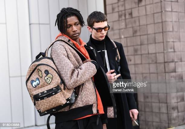 Models Ill Traz and Willow Barrett are seen outside the Coach show during New York Fashion Week Women's A/W 2018 on February 13 2018 in New York City
