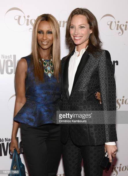 Models Iman and Christy Turlington attend the Conde Nast Traveler Celebration of 'The Visionaries' and 25 Years of Truth In Travel at Alice Tully...