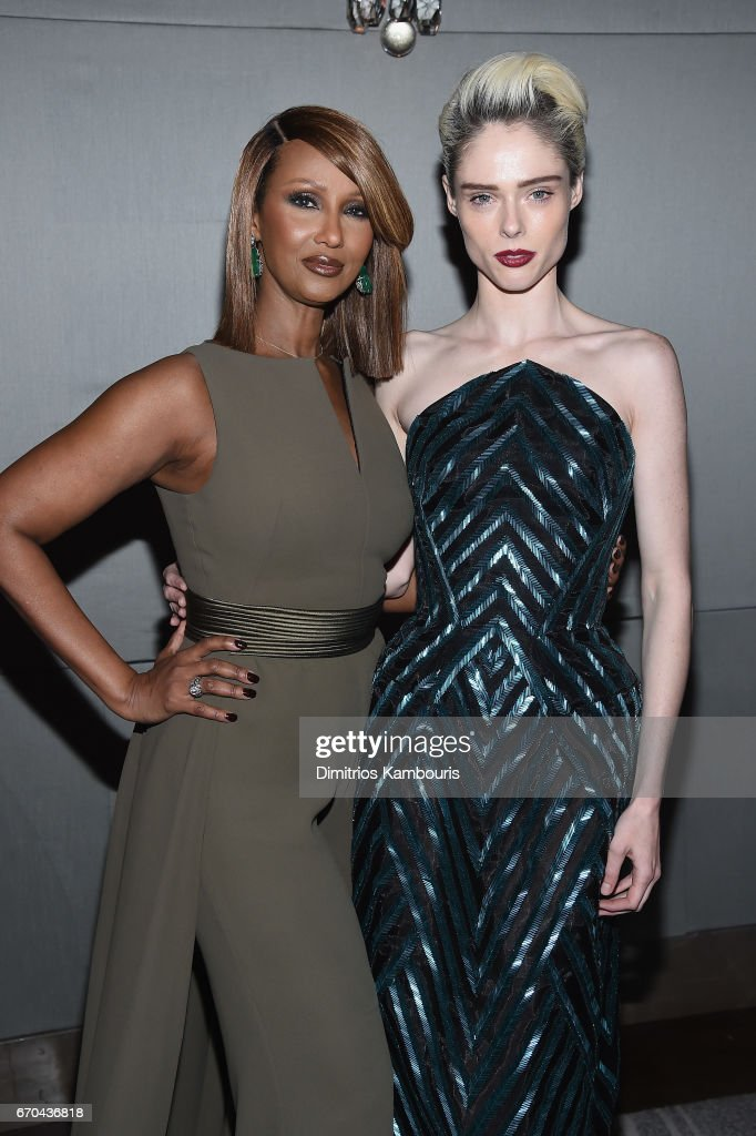 Models Iman and Coco Rocha attend Harper's BAZAAR 150th Anniversary Event presented with Tiffany & Co at The Rainbow Room on April 19, 2017 in New York City.