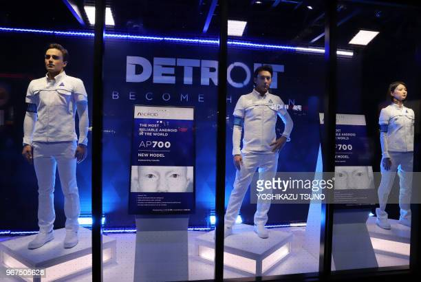 """Models in a showcase display cosplay of the latest video game """"Detroit Become Human"""" at the Tokyo Game Show 2017 in Chiba, suburban Tokyo on..."""