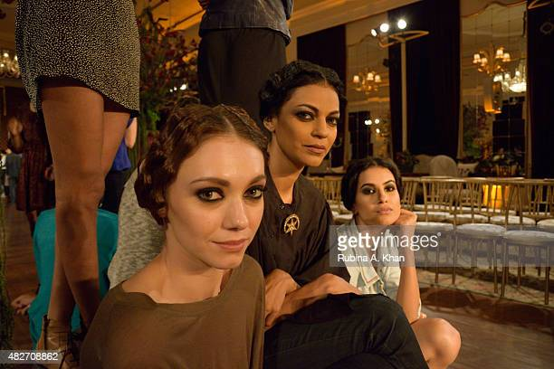 Models in rehearsal before the Rohit Bal couture show on day four of the Fashion Design Council of India's Amazon India Couture Week 2015 on August 1...