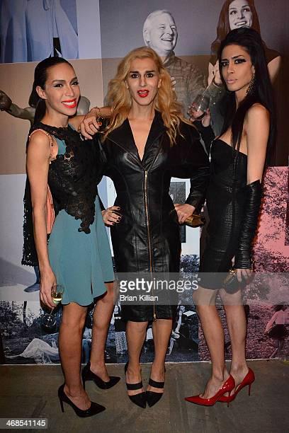 Models Ines Rau Niki M'nray and Gisele Xtravanganza attend the Barneys New York presentation during MercedesBenz Fashion Week Fall 2014 at on...