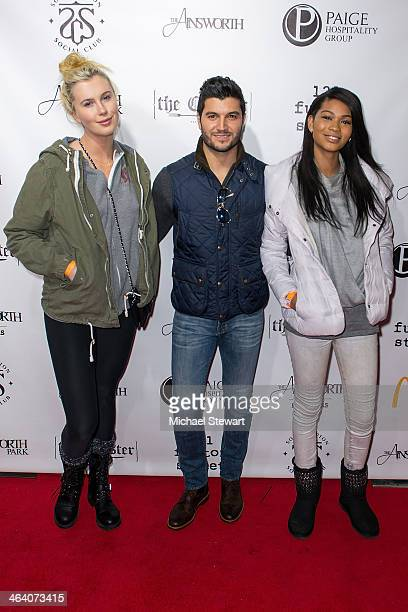 Models Ireland Baldwin Paige Hospitality Group director Brian Mazza and Chanel Iman attend Paige Hospitality Group's Third Annual Sundance Football...