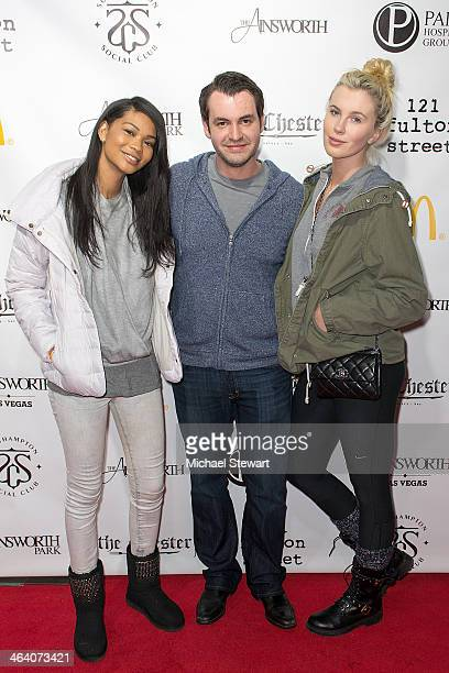Models Ireland Baldwin Vlad Kazhdan and Chanel Iman attend Paige Hospitality Group's Third Annual Sundance Football Game Watch on January 19 2014 in...