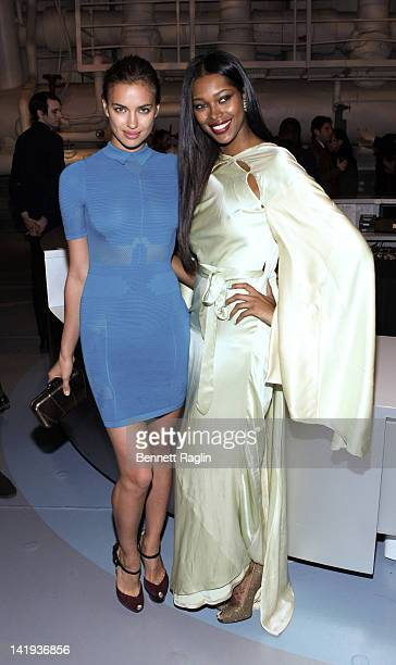 Models Irina Shayk and Jessica White attend Jeffrey Fashion Cares 2012 at the Intrepid Aircraft Carrier on March 26 2012 in New York City