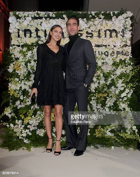 Models Irina Shayk and Jon Kortajarena attend the 'Intimissimi 20 years anniversary' photocall at Italian embassy in Spain on November 17 2016 in...