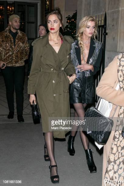 Models Irina Shayk and Stella Maxwell are seen on December 12 2018 in Paris France