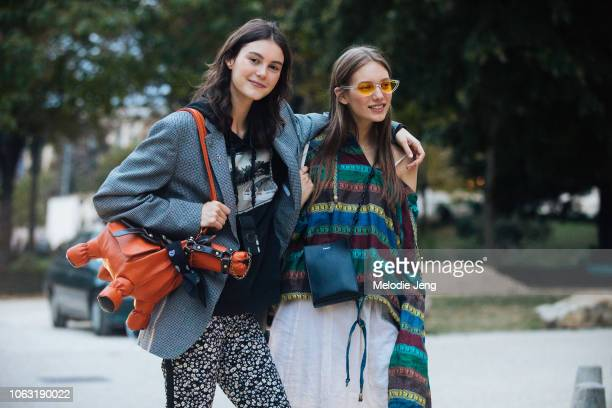 Models Irina Shnitman and Tani Birkin after the John Galliano show during Paris Fashion Week Spring/Summer 2019 on September 30, 2018 in Paris,...