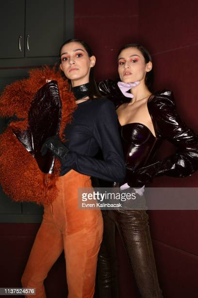 Models is seen backstage at the Ceren Ocak show during MercedesBenz Istanbul Fashion Week at Zorlu Performance Hall on March 22 2019 in Istanbul...