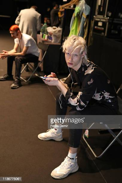 Models is seen backstage at the Emre Pakel show during MercedesBenz Istanbul Fashion Week at the Zorlu Performance Hall on March 19 2019 in Istanbul...