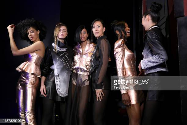 Models is seen backstage at the Murat Aytulum show during MercedesBenz Istanbul Fashion Week at the Zorlu Performance Hall on March 21 2019 in...