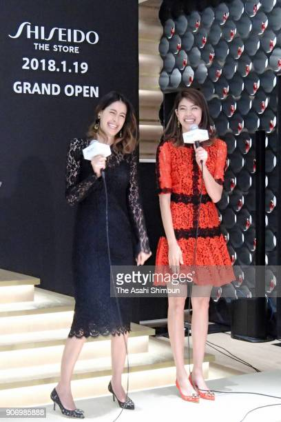 Models Izumi Mori and Hikari Mori attend the 'Shiseido The Store' opening ceremony on January 18 2018 in Tokyo Japan