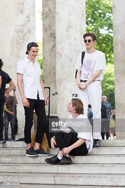 Models Jack Chambers Robbie McKinnon and Henry Kitchner at Palais de Tokyo on June 28 2015 in Paris France