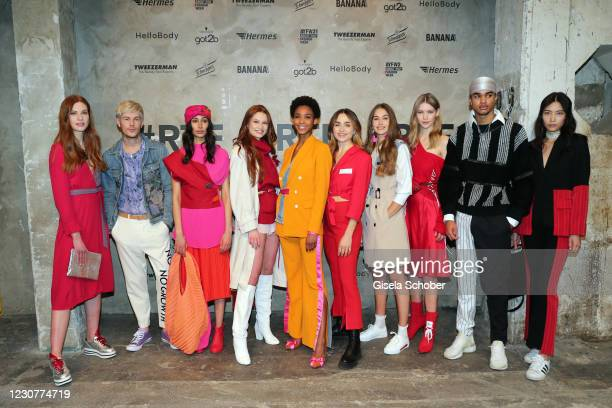 Models, Jana Heinisch and Sofia Tsakiridou during the ABOUT YOU Fashion Week, AYFW, Perwoll show production at Kraftwerk on January 23, 2021 in...