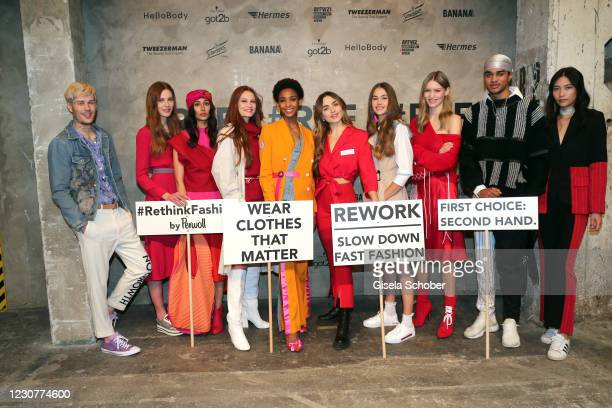 Models Jana Heinisch Model and Sofia Tsakiridou during the ABOUT YOU Fashion Week, AYFW, Perwoll show production at Kraftwerk on January 23, 2021 in...