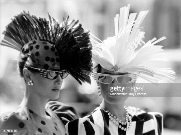 Models Jane Halliwell and Nicky Lane in white velvet The hats were designed by milliner Philip Somerville and formed part of his autumn/winter...
