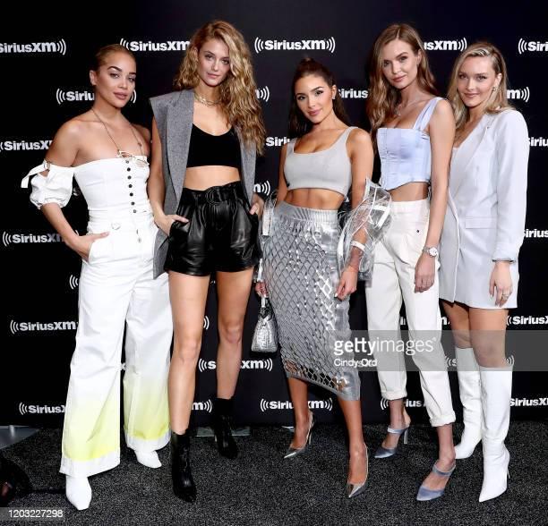 Models Jasmine Sanders, Kate Bock, Olivia Culpo, Josephine Skriver, and Camille Kostek attend day 3 of SiriusXM at Super Bowl LIV on January 31, 2020...