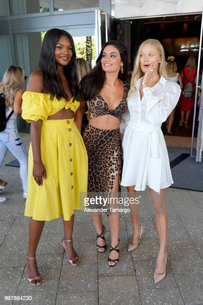 Models Jasmyn Wilkins Anne de Paula and Vita Sidorkina attend the 2018 Sports Illustrated Swimsuit Casting Call at PARAISO during Miami Swim Week at...