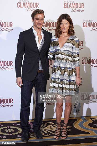 Models Jason Morgan and Hanneli Mustaparta attend the 'Glamour Beauty' awards at the Ritz Hotel on February 4 2016 in Madrid Spain