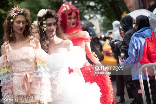 Models Jay Wright Sophie Martynova Sara Djkink during the Rodarte show at New York Fashion Week Spring/Summer 2019 on September 9 2018 in New York...