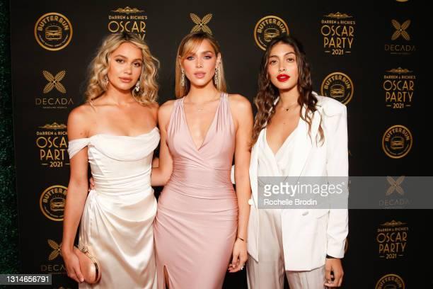 Models Jenn Alano, Kari Riley, and Lara Ghraoui attend Darren Dzienciol & Richie Akiva's Oscar Party 2021 on April 25, 2021 in Bel Air, California.