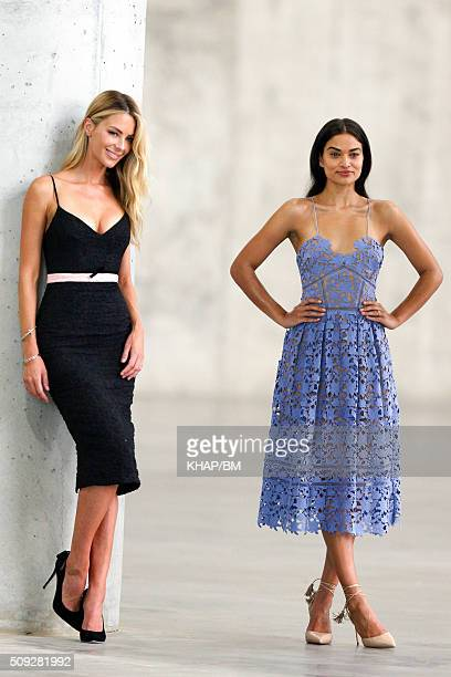 Models Jennifer Hawkins and Shanina Shaik are seen during a photo shoot on February 10 2016 in Sydney Australia
