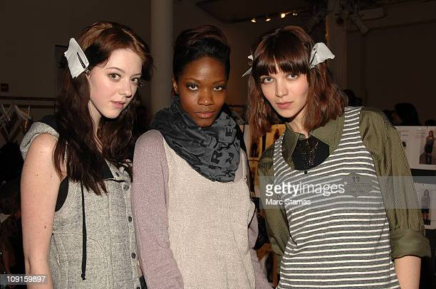 Models Jensica Weimber Brianna Michelle and Sveta Gliedova pose backstage at the Boy Meets Girl Fall 2011 fashion show at Style360 on February 15...