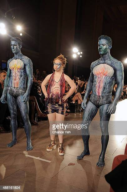 Models Jesse Pattison Madeline Stuart and Ben Pulchinski walk the runway at Hendrik Vermeulen show during Spring 2016 during New York Fashion Week at...