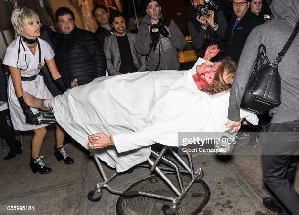 Models Jessica Clarke and Jordan Barrett are seen arriving to Heidi Klum's 19th Annual Halloween Party at Lavo NYC on October 31 2018 in New York City