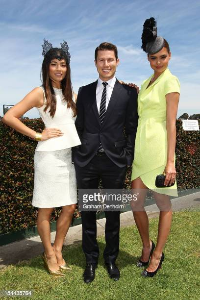 Models Jessica Gomes, Jason Dundas and Samantha Harris attend Caulfield Cup Day at Caulfield Racecourse on October 20, 2012 in Melbourne, Australia.