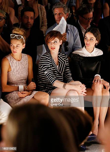 Models Jessica Hart Coco Rocha and Nicole Trunfio attend the Rachel Zoe fashion show during MercedesBenz Fashion Week Spring 2014 at The Studio at...