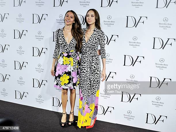 Models Jessica Michibata and Angelica Michibata attend the DIANE von FURSTENBERG show as part of Mercedes Benz Fashion Week TOKYO 2014 A/W at Shibuya...