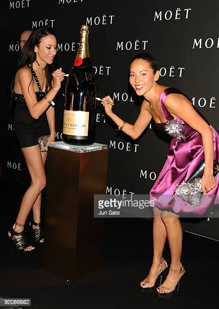 Models Jessica Michibata and Angelica Michibata attend 'Tribute to Cinema' hosted by Moet Chandon at Mado Lounge Roppongi Hills on October 20 2009 in...