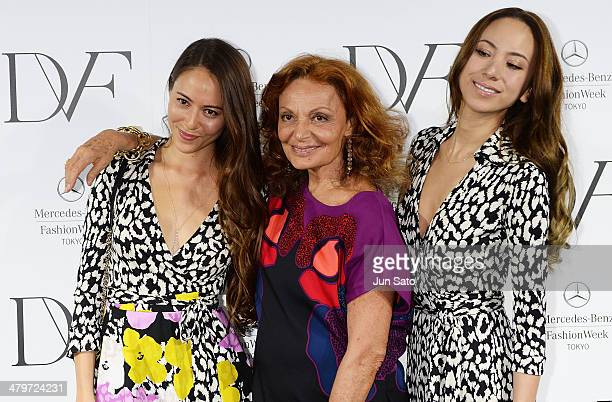 Models Jessica Michibata Angelica Michibata and designer Diane Von Furstenberg attend the DIANE von FURSTENBERG show as part of Mercedes Benz Fashion...