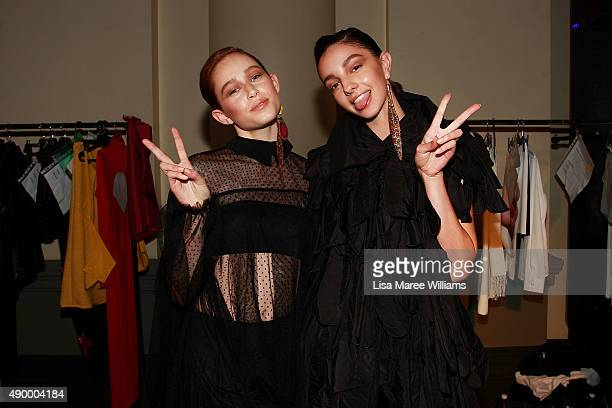 Models Jessica Thomas and Lucy Markovic prepare backstage ahead of the Australian Luxe show during MercedesBenz Fashion Festival Sydney 2015 at...