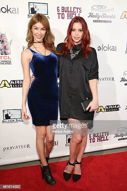 Models Jessica Vargas and Courtney Davies attend 6 Bullets To Hell Los Angeles Premiere at TCL Chinese Theatre on January 15 2015 in Hollywood...