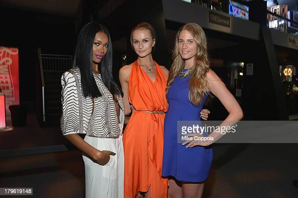 Models Jessica White Elena Kurnosova and Julie Henderson attend the MercedesBenz Star Lounge during MercedesBenz Fashion Week Spring 2014 at Lincoln...