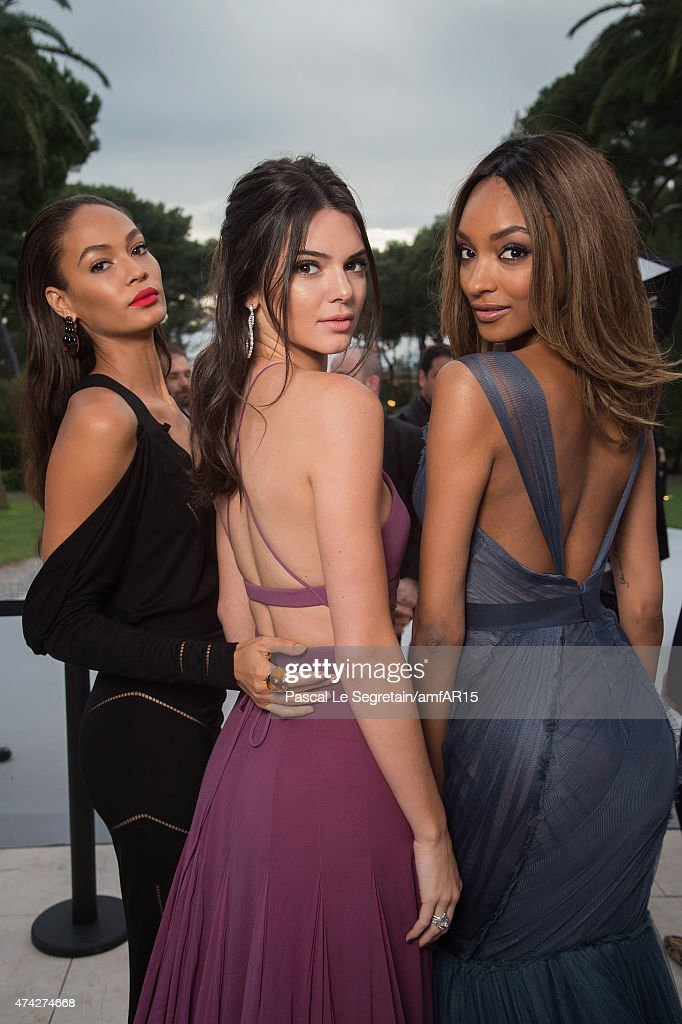 (L-R) Models Joan Smalls, Kendall Jenner and Jourdan Dunn attend amfAR's 22nd Cinema Against AIDS Gala, Presented By Bold Films And Harry Winston at Hotel du Cap-Eden-Roc on May 21, 2015 in Cap d'Antibes, France.