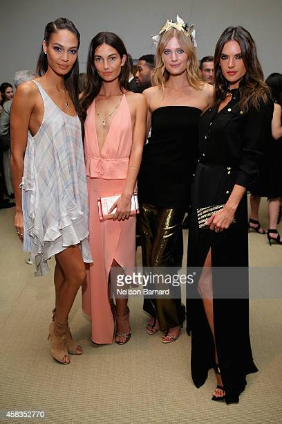 Models Joan Smalls, Lily Aldridgel, Constance Jablonski and Alessandra Ambrosio attend the 11th annual CFDA/Vogue Fashion Fund Awards at Spring...