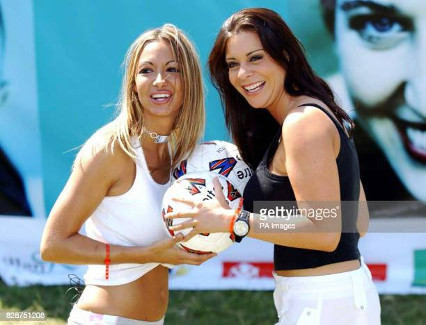 Models Jodie Marsh and Linsey Dawn Mckenzie during the East London Football Festival, sponsored by The Mall Selborne Walk. Jodie is giving her...