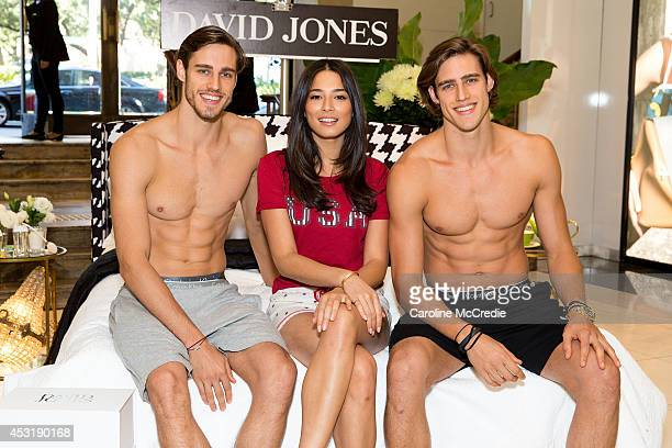 Models Jordan Stenmark Zac Stenmark and Jessica Gomes attend a meet and greet at David Jones Elizabeth Street Store on August 5 2014 in Sydney...