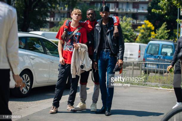 Models Jose Luis Lucero, Oumar Diouf, and Dominic Augustin after the Pal Zileri show during the Milan Men's Fashion Week Spring/Summer 2020 on June...