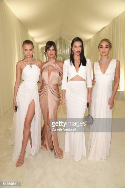Models Josephine Skriver Alessandra Ambrosio Adriana Lima and actor Jasmine Sanders attend Bulgari at the 25th Annual Elton John AIDS Foundation's...