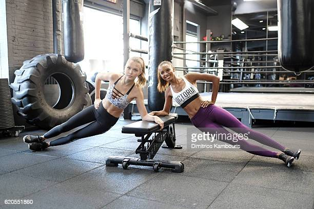 Models Josephine Skriver and Jasmine Tookes participate in the Victoria's Secret Train Like an Angel event on November 2 2016 in New York City