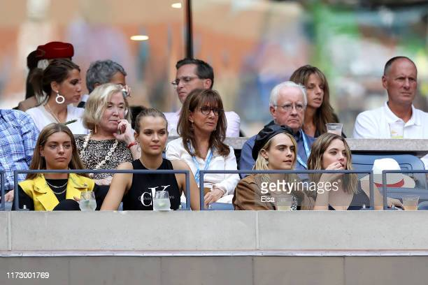 Models Josephine Skriver, Cara Delevingne and Ashley Benson attend the Women's Singles final match against between Serena Williams of the United...