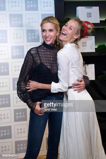 Models Judit Masco and Vanesa Lorenzo attend anniversary Party of Oxigen at Restaurante La Farga on April 18 2018 in Barcelona Spain