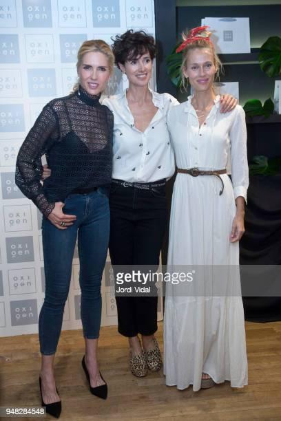 Models Judit Masco Natalia Lopez and Vanesa Lorenzo attend anniversary Party of Oxigen at Restaurante La Farga on April 18 2018 in Barcelona Spain