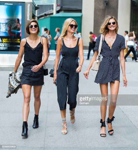 Models Julia van Os, Daphne Groeneveld and Sanne Vloet attend call backs for the 2017 Victoria's Secret Fashion Show in Midtown on August 21, 2017 in...