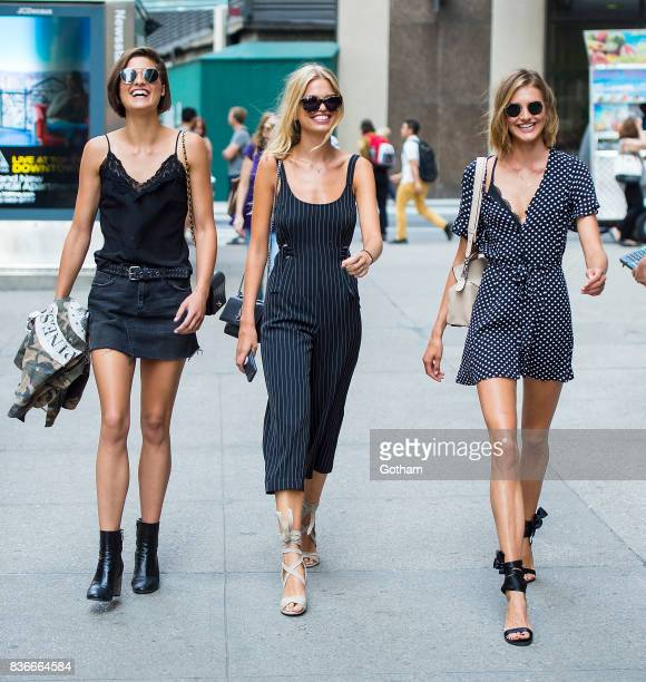 Models Julia van Os Daphne Groeneveld and Sanne Vloet attend call backs for the 2017 Victoria's Secret Fashion Show in Midtown on August 21 2017 in...